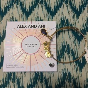 Alex and Ani  Red /Gold charms bracelet.
